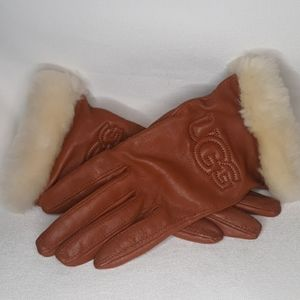 UGG Logo Chestnut Leather Gloves Faux Fur Trim